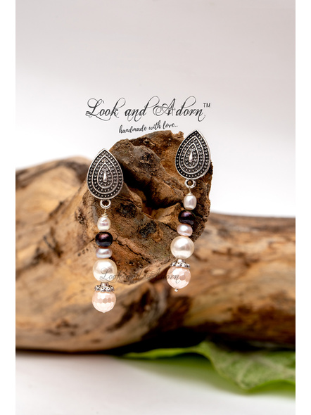 Handcrafted Sea Shell Pearl with German Silver Stud Earrings-LAA-ER-039