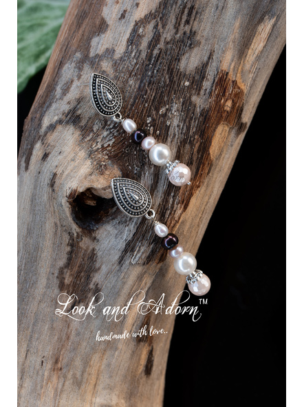 Handcrafted Sea Shell Pearl with German Silver Stud Earrings-White-Pearl-Adult-Female-5.5cm-1