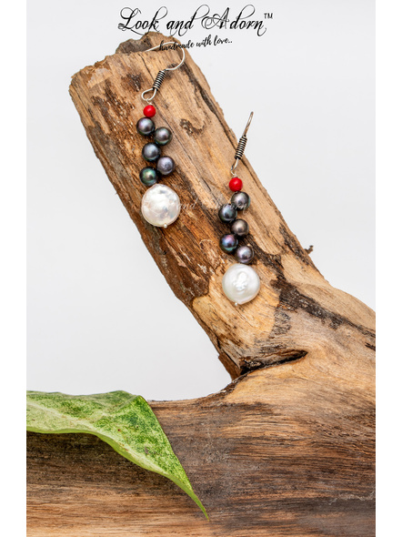 Handcrafted Coin Pearl and Button Pearl with Red Coral Earring-LAA-ER-035