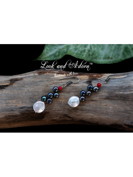 Handcrafted Coin Pearl and Button Pearl with Red Coral Earring-White-Pearl-Adult-Female-6cm-1