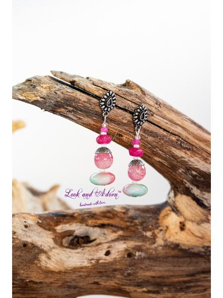 German Silver Drop Stud Dangler with Pink Semi Precious Stone-LAA-ER-045