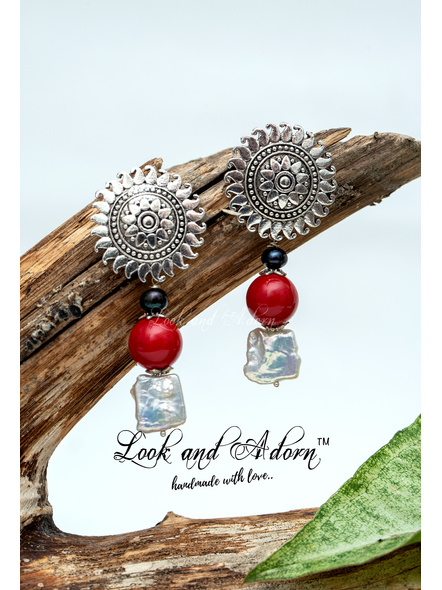 Handcrafted Floral German Silver Stud with White & Grey Fresh Water Baroque, Shell Pearl and Red Coral-LAA-ER-041