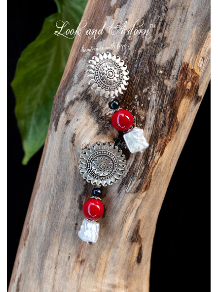 Handcrafted Floral German Silver Stud with White & Grey Fresh Water Baroque, Shell Pearl and Red Coral-Silver-German Silver-Adult-Female-5.5cm-1