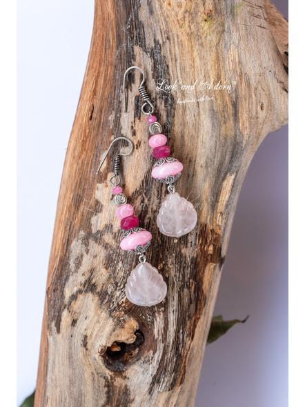 Pink Semi Precious Stone Earring with Rose Quartz Leaf Shaped Bead-LAA-ER-050