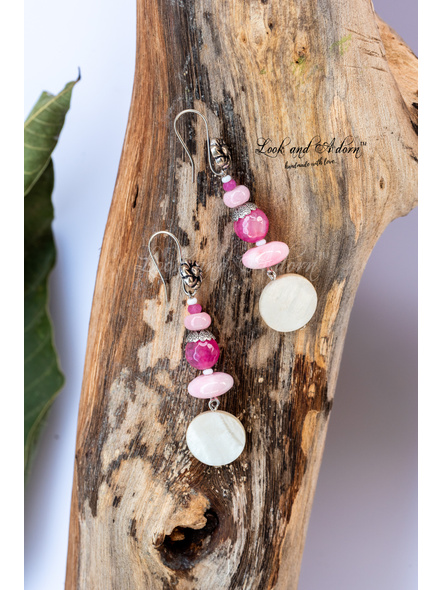 Handmade Pink Semi Precious Stone Earring with Mother of Pearl Disc and Designer German Silver Hook-LAA-ER-049