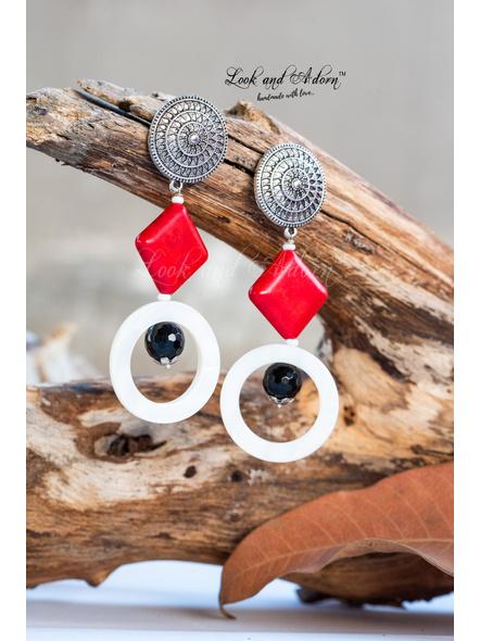 Handmade Designer German Silver Round Stud Dangler with Red Howlite, Mother of Pearl & Jade-LAA-ER-047