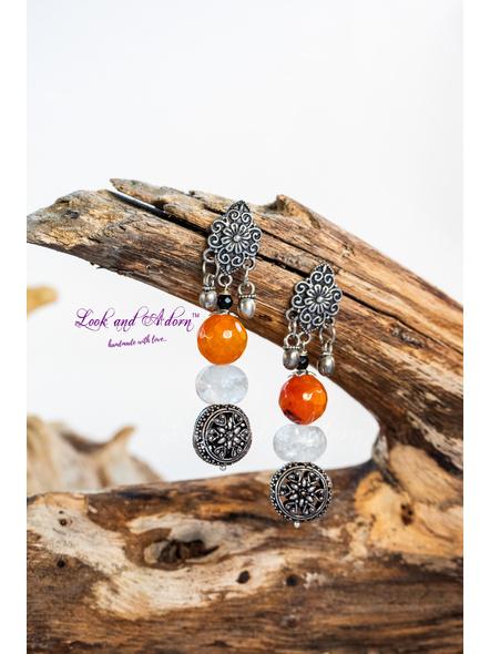Handmade Designer German Silver Tribal Stud Dangler with Orange & White Semi Precious Stone-LAA-ER-046