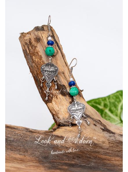 Semi Precious Blue Jade Green Lava Shell Pearl with German Silver Charm Earrings-1