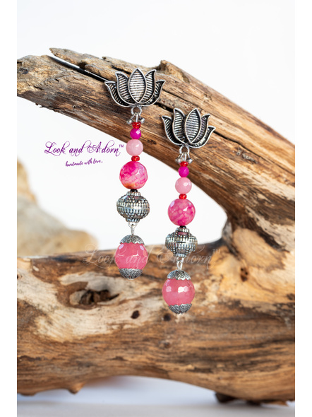 Lotus German Silver Stud Dangler with Pink Semi Precious Stone-LAA-ER-044