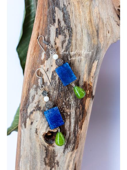 German Silver Dangler with Semi Precious Blue Onyx, Green Onyx Drop & Mother of Pearl-LAA-ER-058