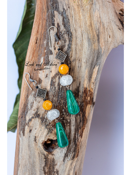 Handcrafted Green Malachite Drop Earring with Crackle Bead and Semi Precious Onyx Stone-LAA-ER-056