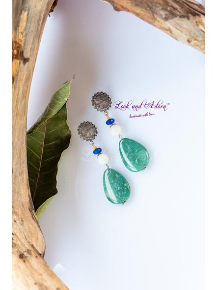 Handmade Designer German Silver Floral Stud Dangler with Blue Jade, Mother of Pearl & Sea Green Onyx Drop-LAA-ER-052