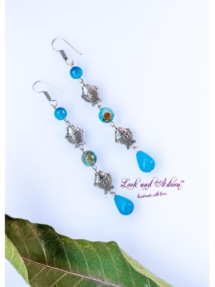 Handmade Designer Long German Silver Fish Dangler with Blue Agate Drop & Onyx Bead-LAA-ER-060