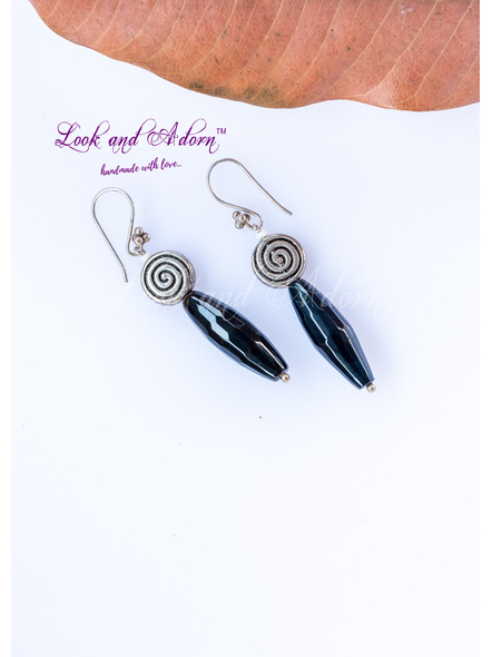 Handcrafted Semi Precious Onyx Drop with Spiral German Silver Dangler Earring-LAA-ER-059