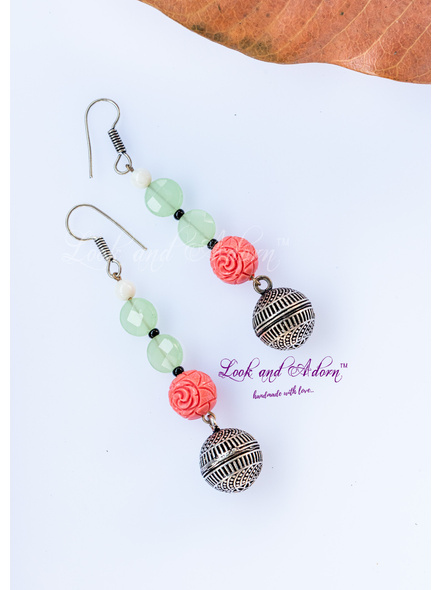 Designer German Silver Dangler with Hand carved Faux Coral Dust Floral Bead, Peridot & Mother of Pearl-LAA-ER-057