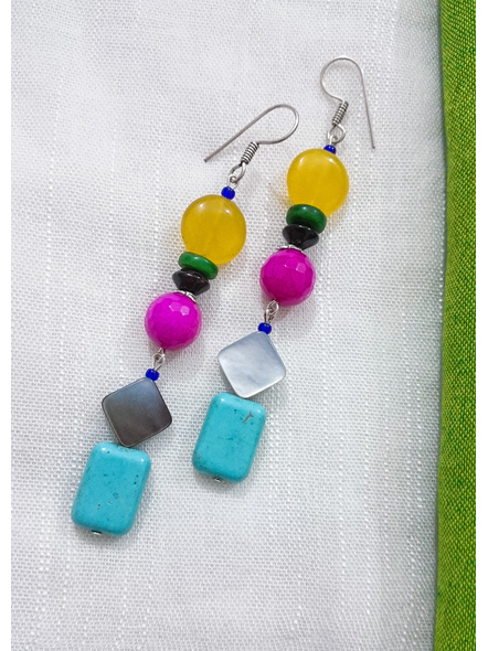 Jade Onyx Agate with Mother of Pearl & Turquoise Earrings-2