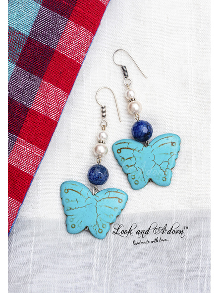Handmade Turquoise Butterfly Dangler with Blue Dragon Veined Agate & Taiwan Shell Pearl-LAA-ER-063