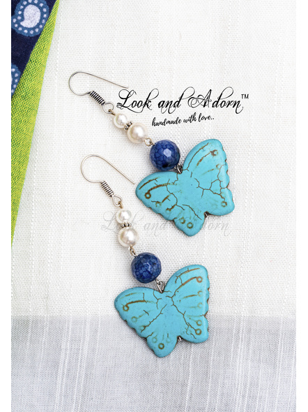 Handmade Turquoise Butterfly Dangler with Blue Dragon Veined Agate & Taiwan Shell Pearl-1