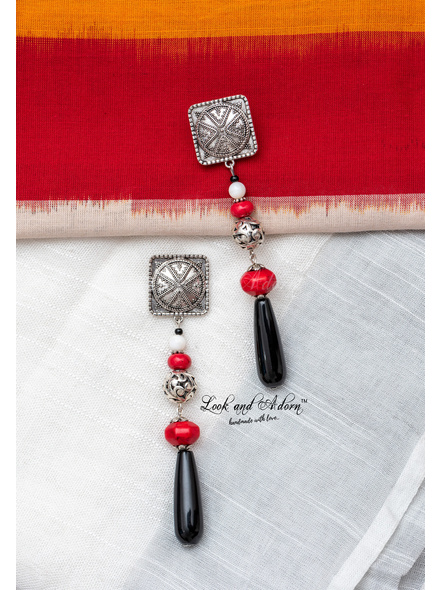 Handcrafted German Silver Square Stud Dangler with GS Bead Red Howlite Turquoise Mother of Pearl & Black Jade Drop-2