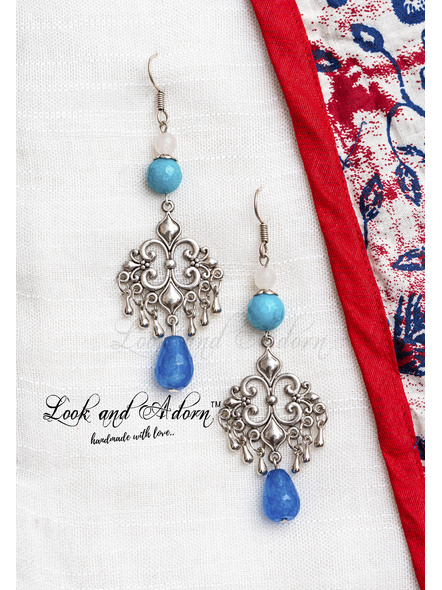 Handcrafted Designer German Silver Charm with Semi Precious Jade , Agate bead and Agate Drop-LAA-ER-065