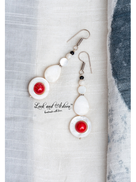 Handmade Mother of Pearl and Coral Earring-LAA-ER-069