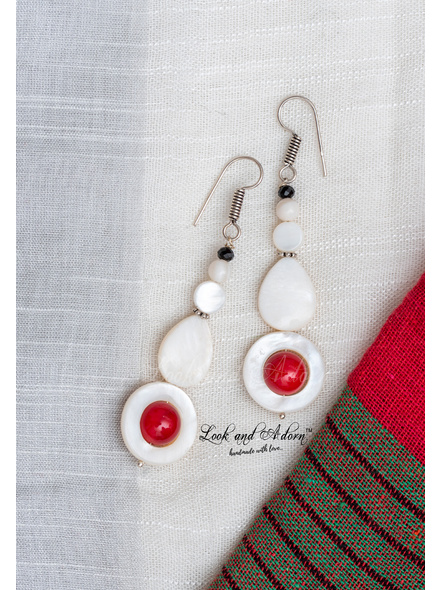 Handmade Mother of Pearl and Coral Earring-1