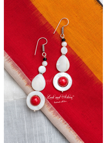Handmade Mother of Pearl and Coral Earring-2
