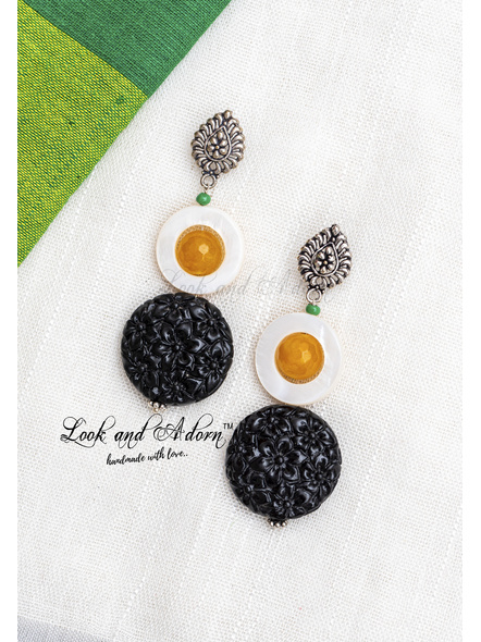 Handcrafted Designer drop stud dangler with Mothe of Pearl, Yellow Onyx and Faux Coral Dust Bead-LAA-ER-064