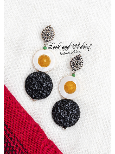 Handcrafted Designer drop stud dangler with Mothe of Pearl, Yellow Onyx and Faux Coral Dust Bead-1