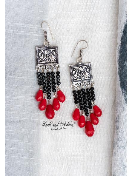 Designer German Silver Tribal Dangler with Black Crystal and Red Drop Crystal-1