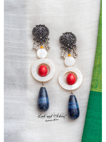 Handmade German Silver Designer Stud Dangler with Blue Lapis Lazuli Drop Red Howlite Turquoise Mother of Pearl Bead and Frame-LAA-ER-066