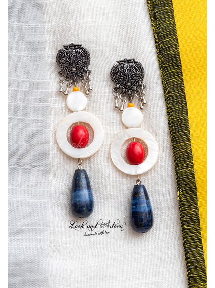 Handmade German Silver Designer Stud Dangler with Blue Lapis Lazuli Drop Red Howlite Turquoise Mother of Pearl Bead and Frame-1