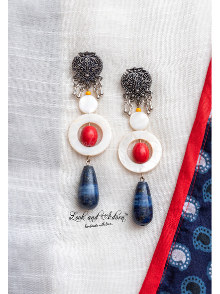 Handmade German Silver Designer Stud Dangler with Blue Lapis Lazuli Drop Red Howlite Turquoise Mother of Pearl Bead and Frame-2