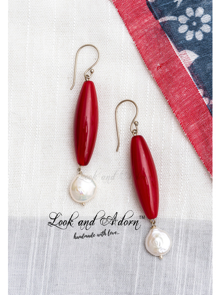 Handcrafted Reddish Brown Agate Drop Earring with Coin Pearl-LAA-ER-062