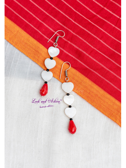 Handmade Mother of Pearl Heart with Red Crystal Drop Earring-LAA-ER-072