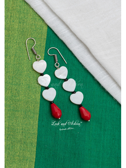 Handmade Mother of Pearl Heart with Red Crystal Drop Earring-1
