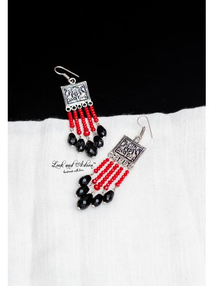 Designer German Silver Tribal Dangler with Red Crystal and Black Drop Crystal-LAA-ER-071