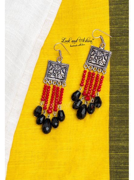 Designer German Silver Tribal Dangler with Red Crystal and Black Drop Crystal-1