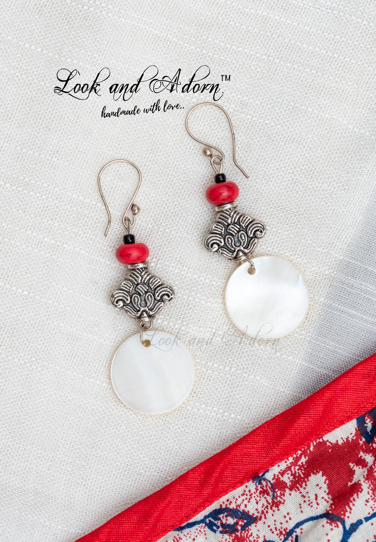 Howlite and glass Czech bead earrings