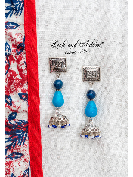 Handcrafted German Silver Square Stud Dangler with Semi Precious Agate Onyx Czech Glass Beads and Jhumka-LAA-ER-077
