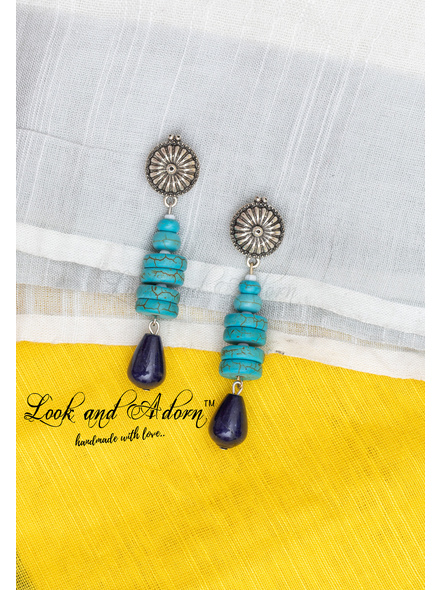 Handcrafted German Silver Round Stud Dangler with Turquoise Disc Beads , Czech Glass Beads and Agate Drop-LAA-ER-075