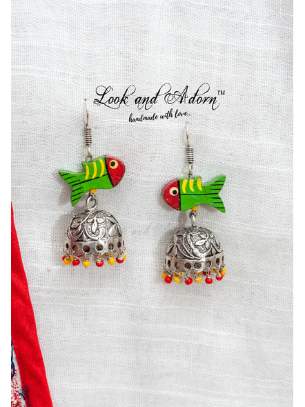 Handcrafted German Silver Jhumka with Red Yellow Czech glass beads and Wooden Fish-LAA-ER-080