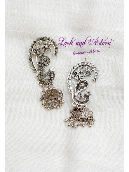 Handcrafted German Silver Designer Peacock Stud with Jhumka-1