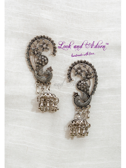 Handcrafted German Silver Designer Peacock Stud with Jhumka-2