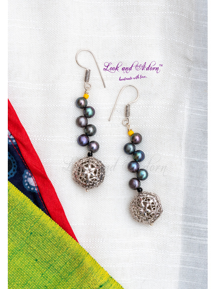 Handcrafted German Silver Bead with Midnight Grey Button Pearl and Czech Bead Earring-LAA-ER-082