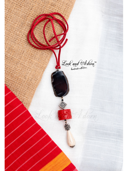 Designer Sleek Neckpiece with Agate Howlite Turquoise Drop Faux Coral and German Silver Bead-LAA-NL-035