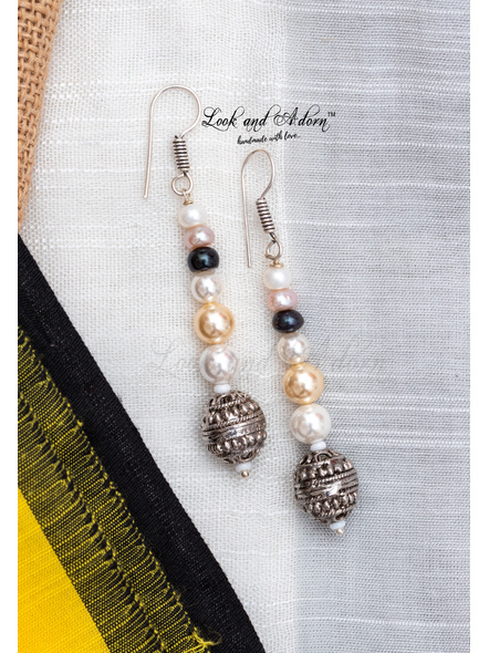 Handcrafted German Silver Bead with Fresh Water Pearl Hyderabadi Pearl Shell Pearl Earring-LAA-ER-086