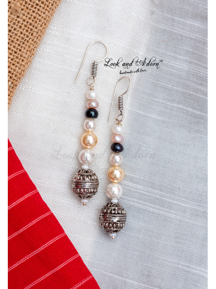 Handcrafted German Silver Bead with Fresh Water Pearl Hyderabadi Pearl Shell Pearl Earring-1
