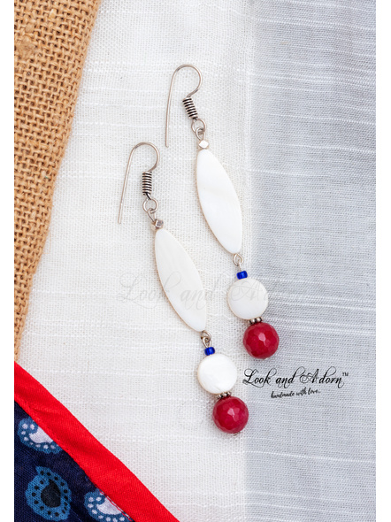 Handcrafted Mother of Pearl Dangler with Agate and Czech Bead Earring-LAA-ER-085