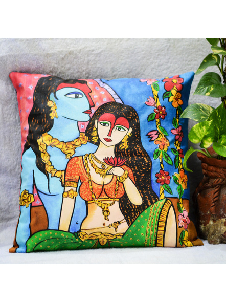 Hand Painted Cotton Cushion Cover Couple (16inch X 16inch)-LAA-HD-CC-010
